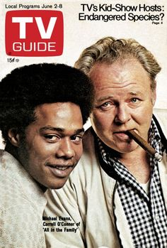 """TV Guide June 1973 ~ Michael Evans and Carroll O'Connor of """"All in the Family"""" Great Tv Shows, Old Tv Shows, Kids Shows, New Shows, Carroll O'connor, Mike Evans, All In The Family, Family Tv, Vintage Television"""