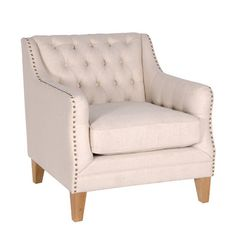 Cream Button Back & Studded Wing Chair
