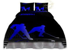 Hockey Bedding for Boys - Comforter, Blue, Sports - Hockey Bedding - Custom…