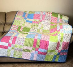 Sakura Park Lap Quilt or Sofa Throw in Pink by QuiltSewPieceful, $195.00