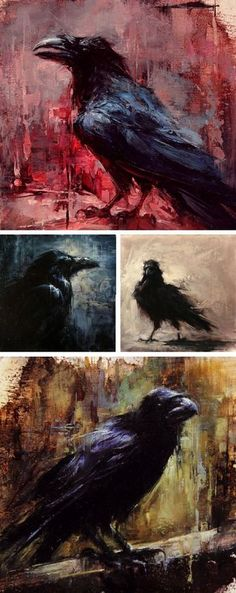 Crow/Raven Art by Lindsey Kustusch very nice collage or collection of artwork from this artist! Crow Art, Raven Art, Bird Art, Crows Ravens, Tatoo Art, Painting Inspiration, Painting & Drawing, Crow Painting, Amazing Art
