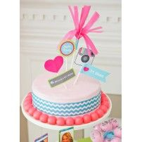 Adria took a store-bought cake and styled it up with printable cake toppers, chevron ribbon, and a gumball border. Pink Birthday Cakes, Teen Birthday, 11th Birthday, Birthday Party Themes, Birthday Ideas, Birthday Design, Birthday Bash, Instagram Birthday Party, Instagram Party