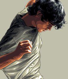 This is a really neat vector image. I like how detailed it is with shading and the many lines that creates the realistic looking wrinkles in the shirt, veins and hair. Also it appears that the light is in front of him based on the shading from the light to gradual dark in the face.  vector portrait