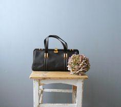 Vintage handbag. 1960s leather bag. 60s purse. Dark brown oversized leather purse