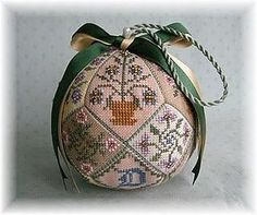 This is the Patchwork Garden Pincushion Ball when finished using the charts given in the previous pin.