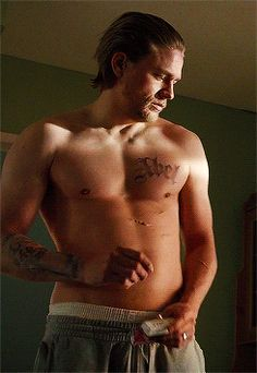 "Charlie Hunnam shirtless on ""Sons of Anarchy"""