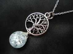 Tree of Life Crystal Crackle Glass Marble Necklace - $7.25