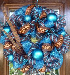 Wreaths mesh | Turquoise and brown deco mesh wreath with ... | wreaths/deco mesh