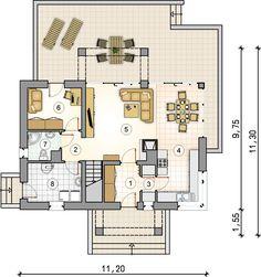 Dom z poddaszem użytkowym, dużą kotłownią i lukarną. Samba, Bungalow, Plane, House Plans, Floor Plans, Exterior, Flooring, How To Plan, Diy