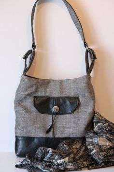 Shoulder bag black and grey purse with by Vireocollection on Etsy