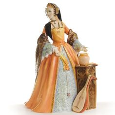"""Jane Seymour ROYAL DOULTON DISCONTINUED FIGURINES DESIGNER: P. PARSONSBRAND: ROYAL DOULTONPATTERN NUMBER: HN3349DIMENSIONS: H. 9""""INTRODUCED: 1991LIMITED EDITION: 9500 $950.00"""
