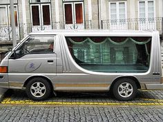 Portugese transparent Hearse (and sleeping driver)