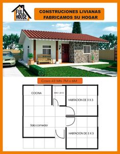 Full House Prefabricados Little House Plans, My House Plans, Small House Plans, House Floor Plans, Bungalow House Design, Small House Design, Three Bedroom House Plan, My Ideal Home, Tiny House Cabin