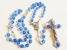 VTG Blue Iridescent crystal glass Beads Rosary Cross necklace Italy | eBay