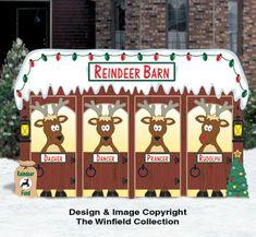 New Items - North Pole Reindeer Barn Pattern Christmas Hallway, Christmas Yard Art, Christmas Crafts, Disney Christmas, Christmas Cubicle Decorations, Christmas Themes, Christmas Parade Floats, Fond Design, Reindeer And Sleigh