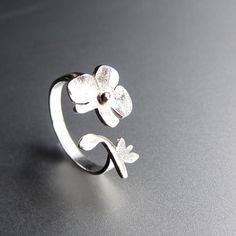 Orchid - Flower Ring - Handmade Sterling Silver Ring $59