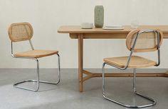 Chaise vintage : 21 modèles esprit rétro Retro Dining Chairs, Wicker Dining Chairs, Metal Chairs, Kitchen Chairs, Table Vintage, Chaise Vintage, Rattan, Dad's Kitchen, Deco Addict