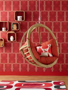 Red Cherry Wallpaper Hanging Chair Furniture Among Wooden Material Also Cushion With Minimalist Shaped Design Ideas as Home Inspiration