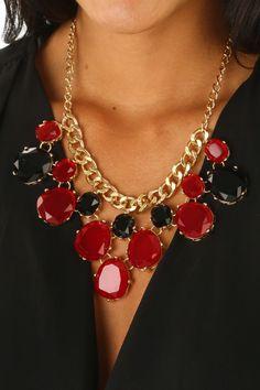 Rule The Roost Necklace: Garnet/Black