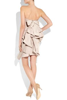 Lanvin - Bow-back cotton and silk-blend strapless dress - bridal? bows.
