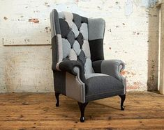 Grey Armchair, Wingback Chair, Wing Chair, Patchwork Chair, Designers Guild, Warm Grey, Timeless Design, Upholstery, New Homes