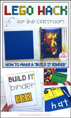 Build It Binder for the classroom! Check out all the details from Samantha Henry Lego Classroom Theme, Kindergarten Classroom, Future Classroom, Classroom Organization, Classroom Management, Classroom Ideas, Kindergarten Morning Work, Behavior Management, Used Legos