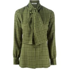 Christian Dior Vintage Houndstooth Print Shirt (1.605 RON) ❤ liked on Polyvore featuring tops, green, houndstooth top, green shirt, shirts & tops, vintage tops and green long sleeve shirt