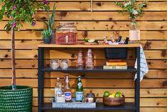 outdoor-bar- a53ae810 Outdoor Bar Cart, Diy Outdoor Table, Outdoor Storage, Outdoor Living, Metal Work Table, Metal Shelving Units, Metal Tub, Outdoor Supplies, Decks And Porches