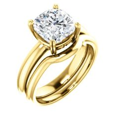 14kt Yellow  8mm Cushion Ring Mounting