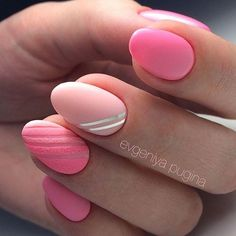 Gentle summer nails, July nails, Nail art stripes, Oval nails, Pale pink nails, Pink manicure ideas, Resort nails, Summer colors for nails