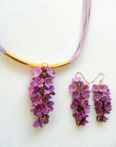 Ombre lavender jewelry  Ombre earrings necklace by insoujewelry, $52.00