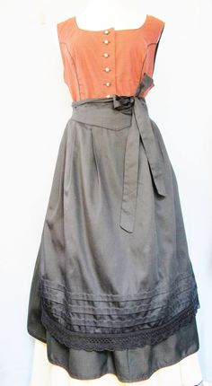 TRACHTEN DIRNDL Dress, Made in Austria, 100% Cotton, Red & Black, Black Apron, Metal Buttons, 48/18, Bavarian Style, Alpine Looks, Wurzer, by AlpineCountryLooks on Etsy