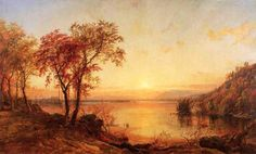 'Sunset at Greenwood Lake', Oil On Canvas by Jasper Francis Cropsey (1823-1900, United States)