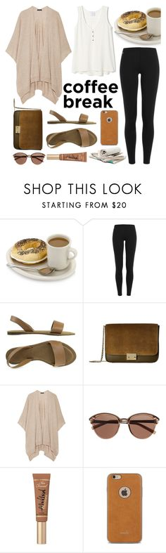 """Coffee Break"" by ayiarundhati ❤ liked on Polyvore featuring Polo Ralph Lauren, Loeffler Randall, The Row, Witchery, Too Faced Cosmetics, Moshi, chocolate, brown, coffee and coffeebreak"