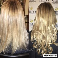 Seamless extensions blonde Balayage color