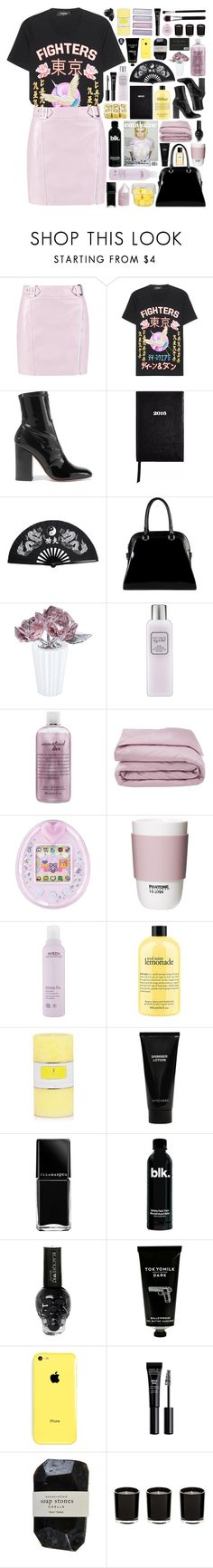 """""""19:28"""" by svga-kookie ❤ liked on Polyvore featuring Boohoo, Dsquared2, Valentino, Sloane Stationery, Diophy, Swarovski, Laura Mercier, philosophy, Frette and ROOM COPENHAGEN"""
