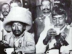 Zapata's soldiers having breakfast at Sanborn's Restaurant.