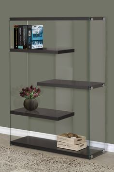 Cappuccino Hollow Core Tempered Glass Bookcase on @HauteLook