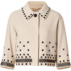 MOSCHINO Beige/Black Dot Studded Wool Jacket ($562) ❤ liked on Polyvore featuring outerwear, jackets, coats, tops, casacos, 3/4 sleeve jacket, beige jacket, beige cropped jacket, polka dot jacket and tailored jacket