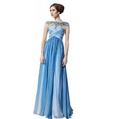 Kingmalls Womens Blue Beaded Sleeveless Ball Ombre Prom Dress (Medium) | Find.com