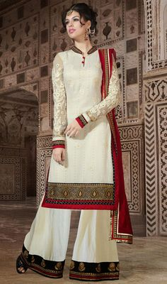 Ivory Chiffon Georgette Sharara Suit Price: Usa Dollar $152, British UK Pound £90, Euro112, Canada CA$165 , Indian Rs8208.