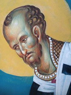 Άγιος Ιωάννης Χρυσόστομος / Saint John Chrysostom Byzantine Icons, Religious Art, Cyprus, Portrait, Saints, Prayers, Faces, Sky, Fresco