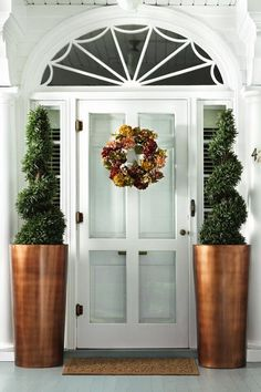Love These Planters By Front Door Or Out Back Front Porch 21 Best Winter Porch Decorating Ideas Spring Door Decorating Ideas Thistlewood Farm Front Door Plants, Front Porch Planters, Deck Planters, Front Door Porch, Front Door Decor, Copper Planters, Copper Pots, Porches, Entrada Frontal
