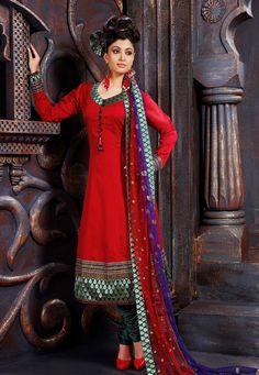 Dark Red Art Silk Churidar Kameez