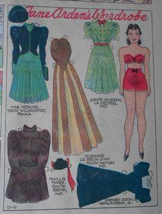 12-10-39 Jane Arden paper doll / eBay
