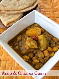 Channa curry with potato is a perfect combination and paired best with dhal puri or paratha roti. It's spicy and delicious.