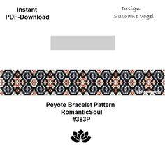 peyote bracelet pattern,PDF-Download, #383P,2 variants,RomanticSoul,beading pattern, beading tutorials,peyote pattern,cuff pattern,pdf file von bellepatterns auf Etsy