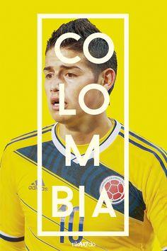 Afiche de la Selección de Fútbol de Colombia - James - Brasil 2014 by rikartdo Ricardo Mondragón.