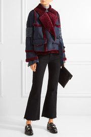 SacaiPaneled shearling jacket