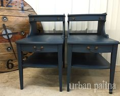 Urban Patina: Pair of Vintage side tables get a refresh. Custom Mix of Annie Sloan Chalk Paint, Napoleonic Blue and Barcelona Orange.